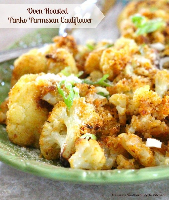 Oven Roasted Panko-Parmesan Cauliflower - Shake-up your side dish menu with this crispy, lightly breaded roasted cauliflower. I think cauliflower often gets overlooked when we think of tasty side dishes. I can understand in a way, if it's not cooked properly, it's virtually tasteless.