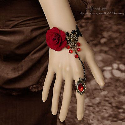 Gothic Red Rose Flower Beads Drop Bronze Black Lace Adjustable Ring Bracelet Set