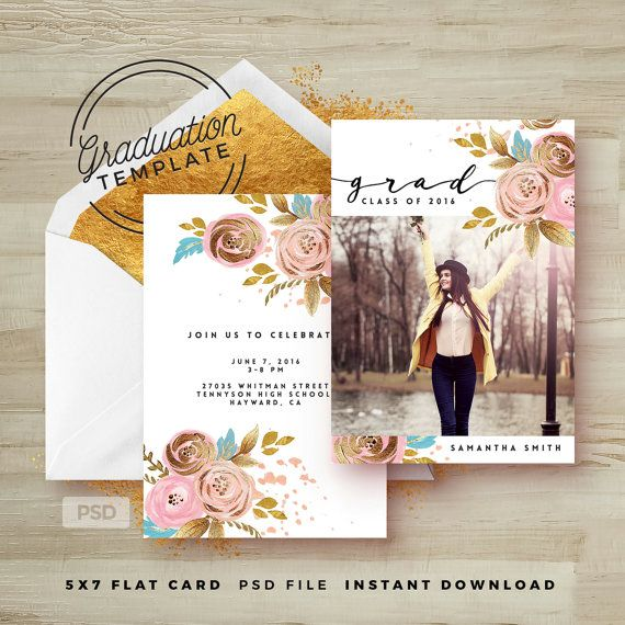 184 best invitation design inspiration images on pinterest rose gold floral graduation invitation photoshop template printable grad announcement card graduation photo marketing template stopboris Choice Image