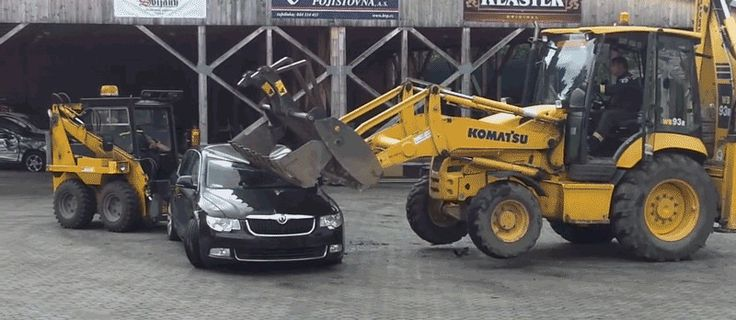 How Easy Is It To Destroy A Modern Car With A Front Loader?