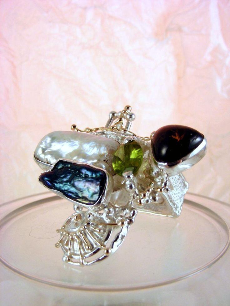 Gregory Pyra Piro #Konst #Smycken Sterlingsilver och Guld med Ädelstenar #Ring 8932
