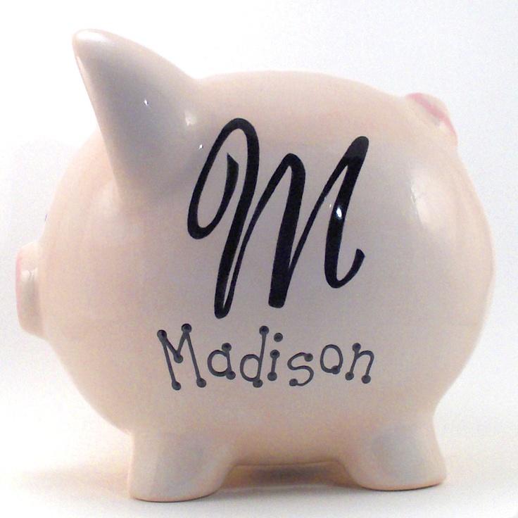 Monogram Piggy Bank Personalized Piggy Bank Piggy Bank