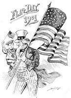 Cartoonist Clifford Berryman's familiar Uncle Sam celebrates Flag Day as he marches along carrying a large American flag with one hand. In his other arm is a small boy in a sailor suit who is waving a small American flag.