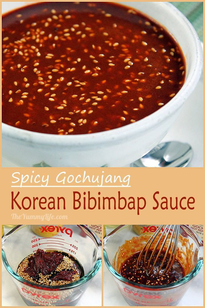 A condiment for bibimbap and other Korean dishes. Made with gochujang (or kochujang), a Korean red pepper paste that is a staple in Korean cooking.