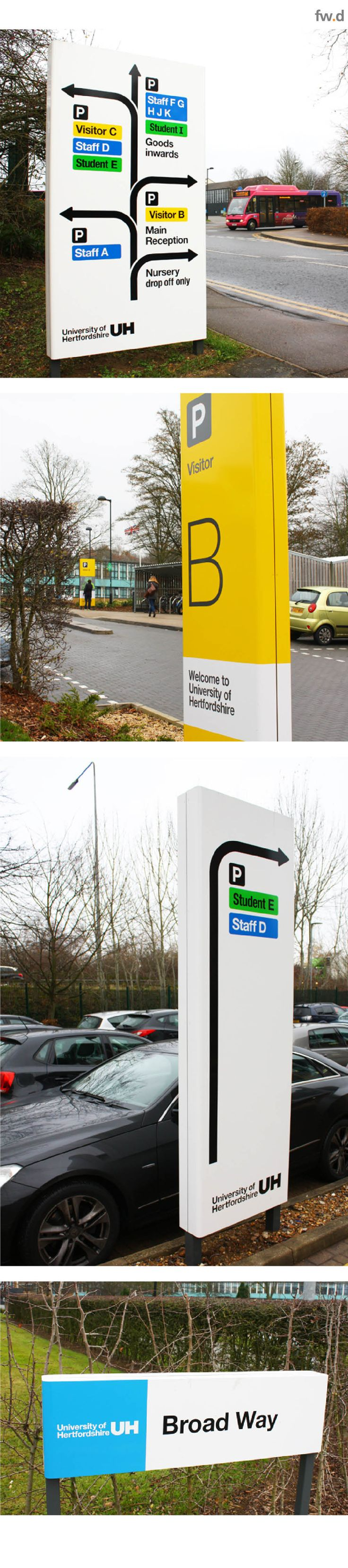 Vehicular signage for University of Hertfordshire Campus.