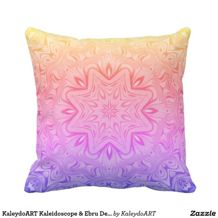 KaleydoART Kaleidoscope & Ebru Design Throw Pillow