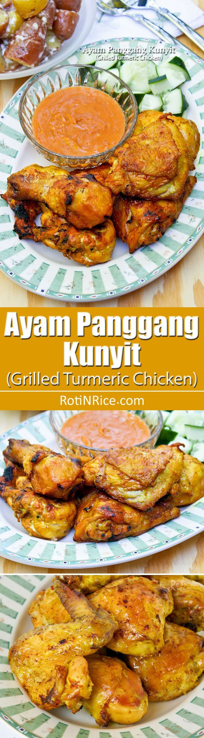 Simple yet tasty and aromatic Ayam Panggang Kunyit (Grilled Turmeric Chicken) using ground or fresh turmeric. Only 5 ingredients required. | http://RotiNRice.com