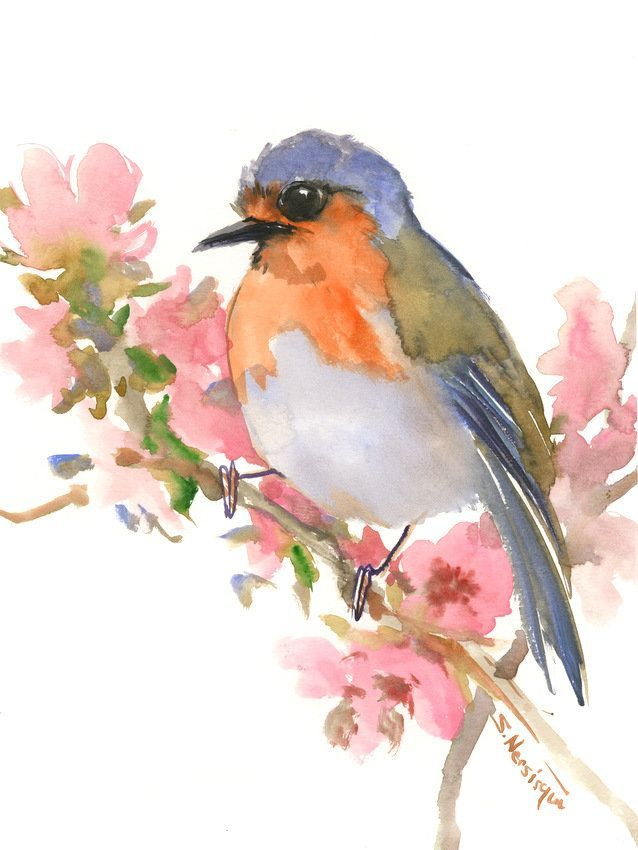 Robin Art Bird Artwork Original Watercolor Painting Bird Lvoer