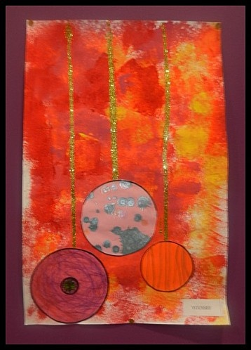 .Large Paper - Watercolors - Ribbon - circles (or whatever!)  Beautiful on a window or Door.