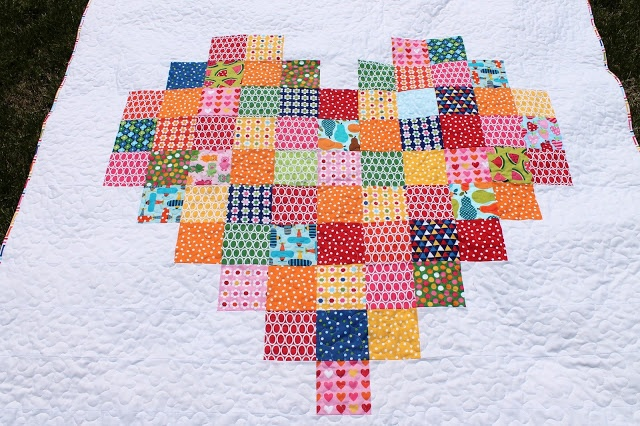 Pixelated Heart quilt by kelbysews