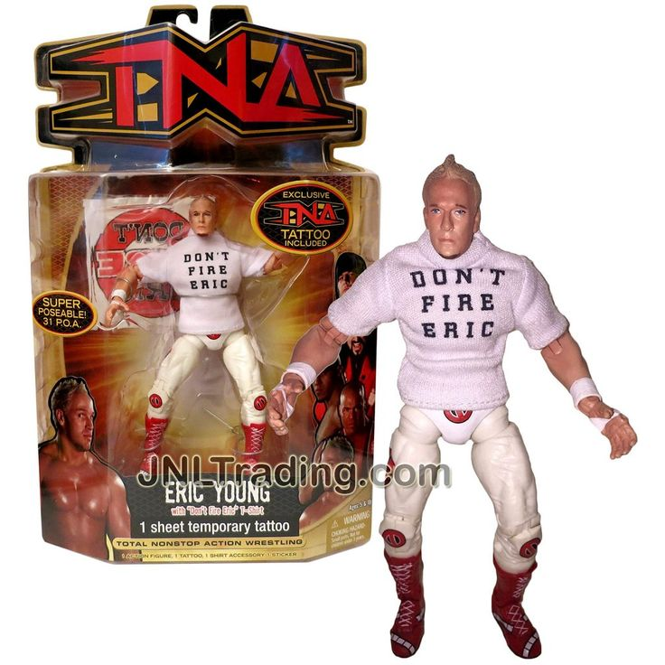 "Marvel Toys Year 2007 Total Nonstop Action Wrestling TNA Series 7 Inch Tall Figure - ERIC YOUNG with ""Don't Fire Eric"" T-Shirt and Temporary Tattoo"