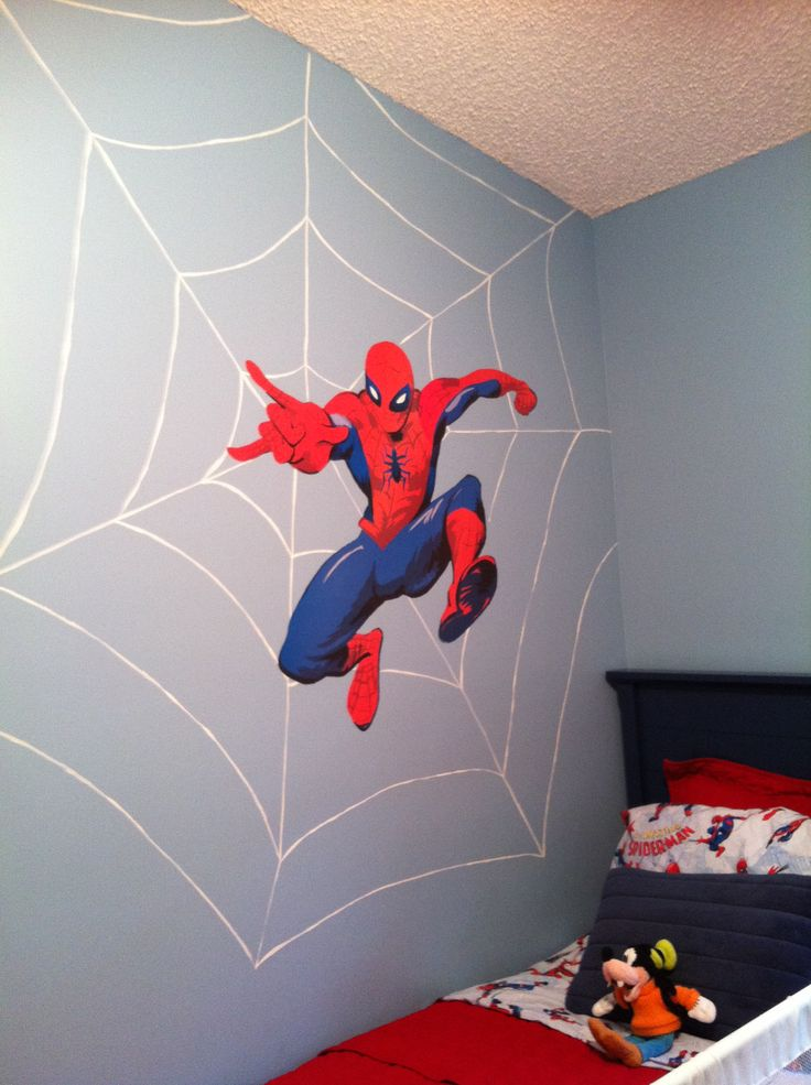 Bedroom Inspiring Wall Decor For Spiderman Room Ideas Plus Wooden Bed