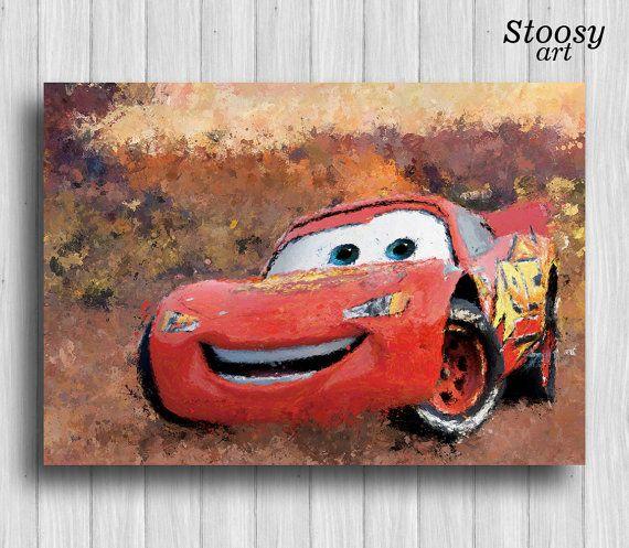 Lightning Mcqueen Print Disney Cars Poster Kids Decor By Stoosyart