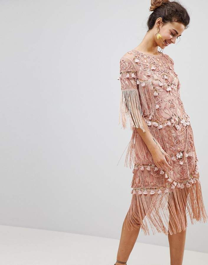 ASOS Edition ASOS EDITION Loose T-Shirt Dress with Embroidery and Tassels  Mini Dress #