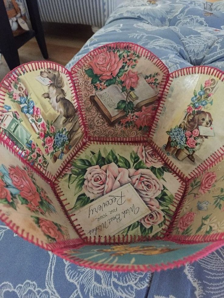 Vintage Crochet Greeting Card Basket GreetingCard Craft