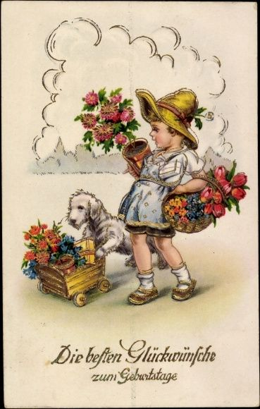 Postcard gl ckwunsch geburtstag m dchen mit blumenk rben for Vintage geburtskarten
