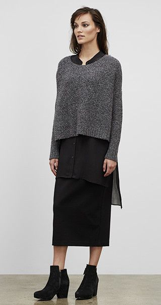 Our Favorite Fall Looks & Styles for Women | EILEEN FISHER  ...same basic proportions again but this does not work, the crop knit top is too stiff and/or bulky and make the model look boxy