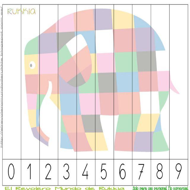 Aprender a contar con Elmer, learning numbers with Elmer, Elmer activities, Elmer printable, Elmer cuento, Elmer actividad,                                                                                                                                                                                 Más