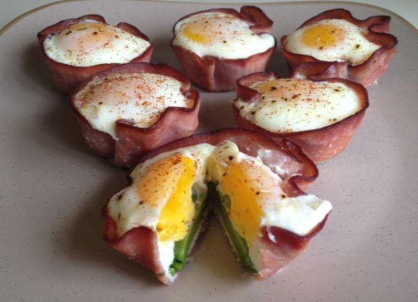 Breakfast cupcakes...ham, egg, avocado. Low carb