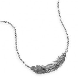 """16"""" + 2"""" Oxidized Feather Necklace"""