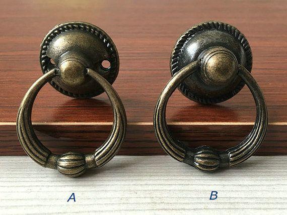 vintage look dresser drawer pulls handles knobs ring drop pull antique bronze rustic cabinet door knob pull furniture hardware