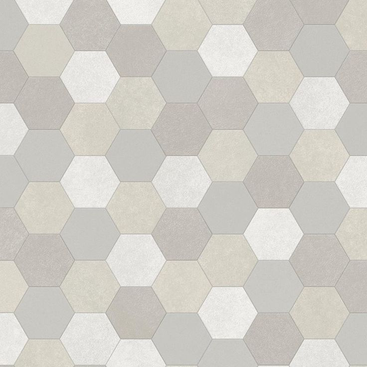 Seashell Stone Grey 13.2 ft. Wide x Your Choice Length Residential and/or Commercial Vinyl Sheet Flooring, Grey And White Mosaic Hexagon Finish