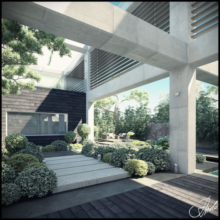 courtyard-design - concrete panelled pavers