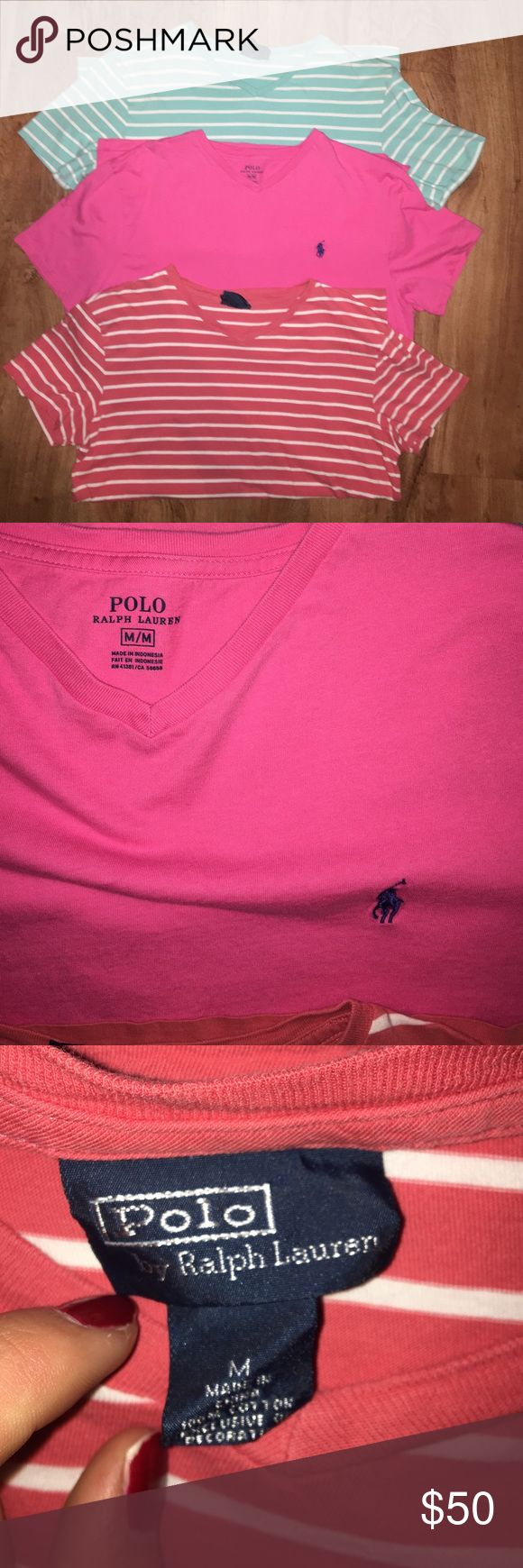 Men's Polo T Shirts Pink one is brand new without tags. All are V-necks and in perfect condition! Polo by Ralph Lauren Shirts Tees - Short Sleeve