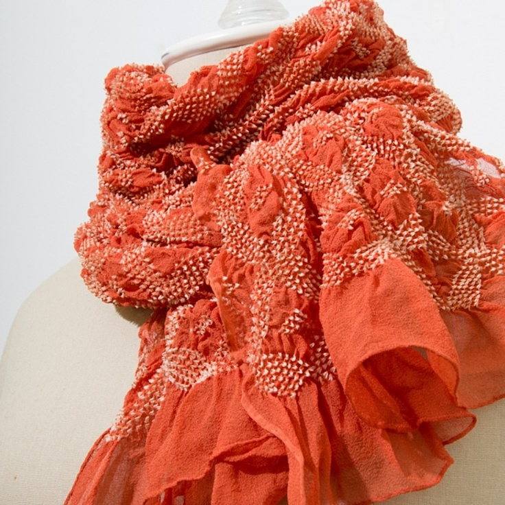 Bandhani Scarf. When I was a kid some relatives visited from Japan, and brought me a children's brightly colored cotton kimono with an obi much like this. I loved it, though I quickly outgrew it. Wonder if I still have the fabric somewhere.