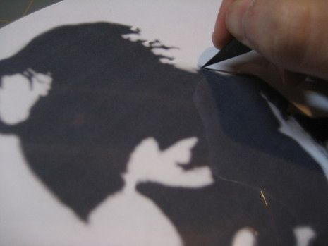 How to make a cool stencil. Use for one of a kind t-shirts. Or other stencil printing.