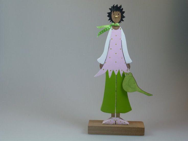 Figur aus Holz - Pink Lady - Blumenmädchen von mw-holzkunst auf DaWanda.com