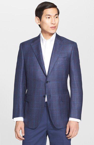 men 39 s big tall canali classic fit plaid wool blend sport coat coats wool and plaid. Black Bedroom Furniture Sets. Home Design Ideas