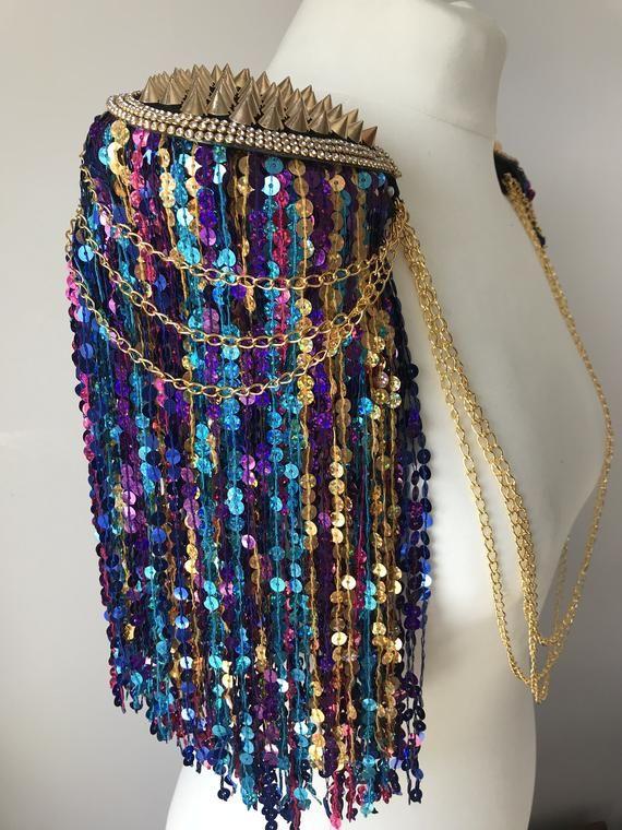 Multicoloured sequin tassel festival epaulettes, tassel shoulder pads, festival epaulettes, tassel festival shoulderpieces, burning man