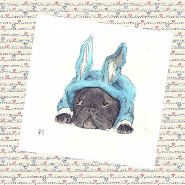 Inspired by @barrythefrenchie, what a lovely dog!) frenchie frenchbulldog french bulldog watercolors illustration акварель
