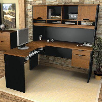 bestar innova lshape computer desk with accessories finish tuscany brown u0026 black