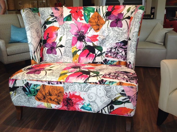 Elegant and refreshing custom designed settee by @Mandy Renfrew can be seen at Polanco Home in Ottawa