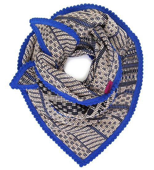 Grof geweven stoere shawl met zwart, blauw, ecru & goud kleurige accenten.