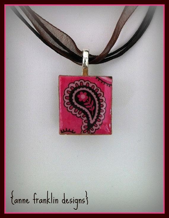 paisley :: cute pink & brown repurposed scrabble tile pendant necklace