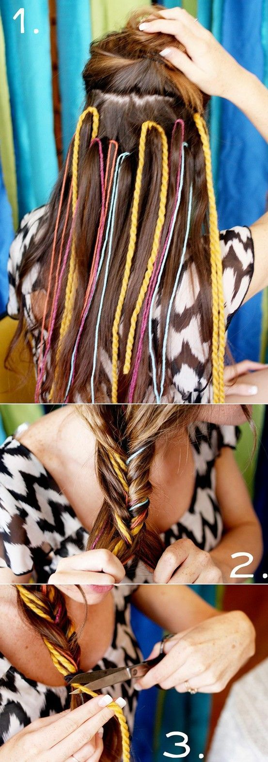 CordedBraid --- Lift up and securetop section of hair. Tye random cords and strings into hair as in picture. Release top hair. Braid all, any kind of braid, like the fishtail shown here. Tie off braid. Cut off too long cords. (Be careful not to cut the hair!)Cute and stylish idea via.