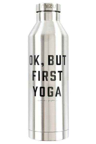 Ok But First Yoga Water Bottle Silver #SILVER #WATER-BOTTLES
