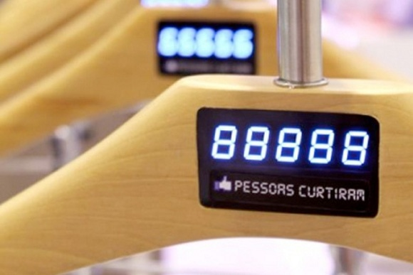 C & A Brazil's 'Fashion Like' concept uses networked digital hangers to display how many Facebook likes each of their garments has received via their website.