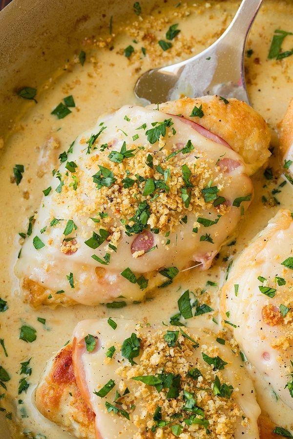 Курица в сыре и ветчине, с дижонским сливочным соусом