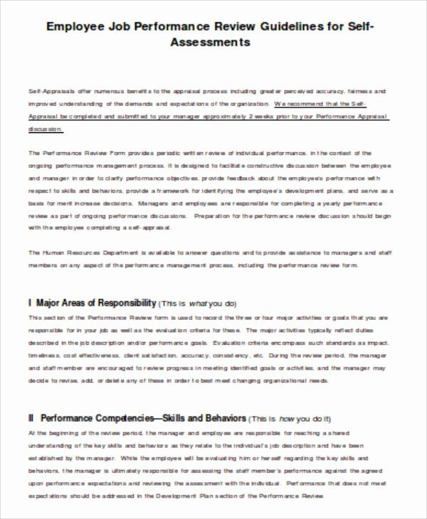Self Performance Review Template Awesome 5 Job Self Assessment