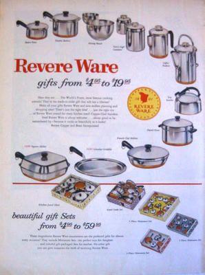1956 Revere Ware Pots Pans Gift Sets PLUS Three Miniature Sets Print Ad!