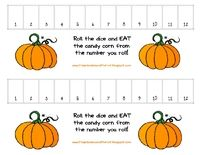Cool game for the kiddies for our Halloween get together: Math Games, Fall Parties, Corn Games, Candy Corn, Math Ideas, Dice Games, Halloween Games, Counted Games, Corn Dice