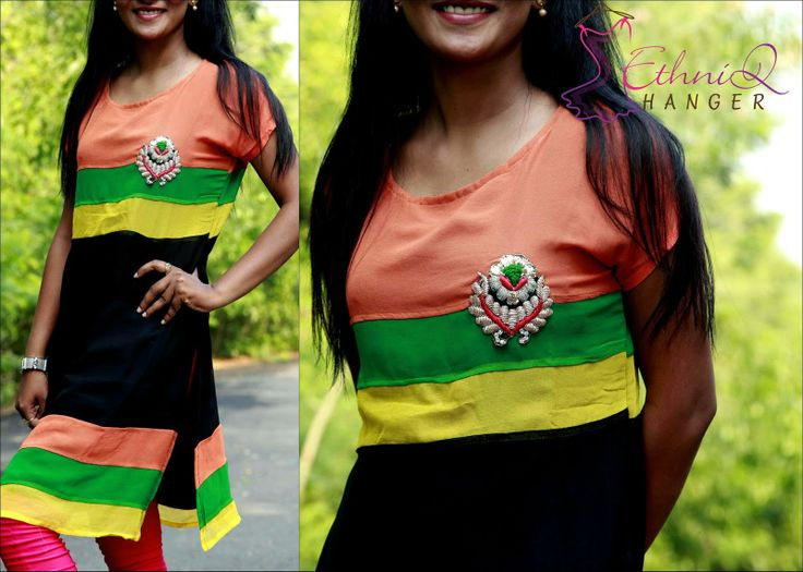 Adorable Tri-color combination georgette multi color kurti with thread work gives extra catch up look