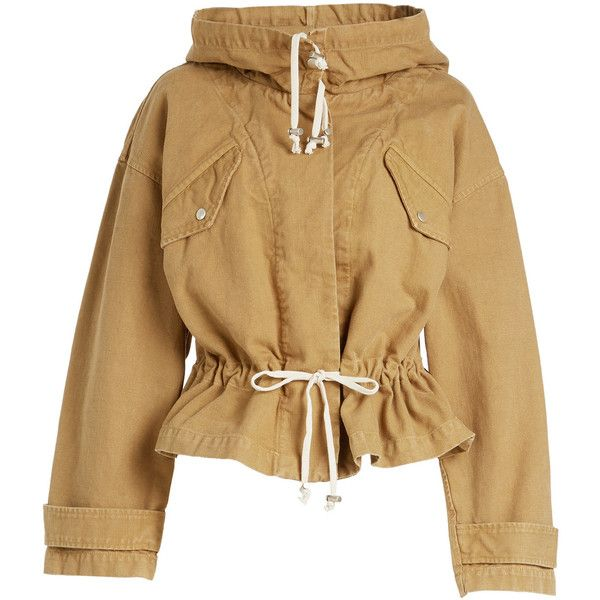 Isabel Marant Étoile Lagilly Cotton Jacket (€583) ❤ liked on Polyvore featuring outerwear, jackets, tops, coats, coats & jackets, camel, etoile--isabel marant jacket, brown cotton jacket, drawstring jacket and brown jacket