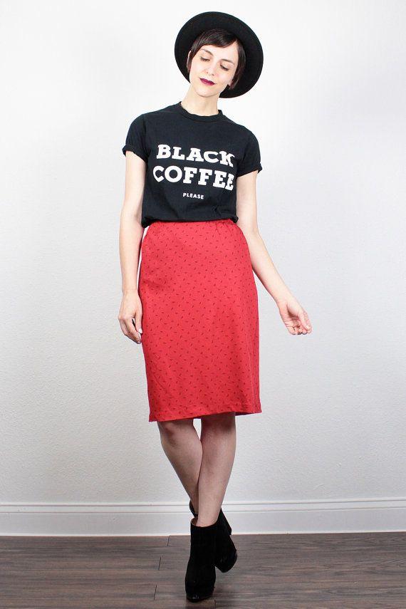 Vintage 80s Skirt Red Black Abstract Print Midi Skirt Knee Length Skirt Pencil…