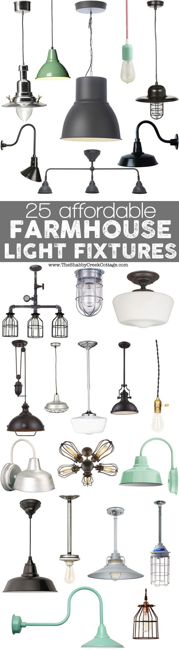 Farmhouse Lighting Ideas - 25 affordable fixtures that look like authentic vintage fixtures - via The Shabby Creek Cottage