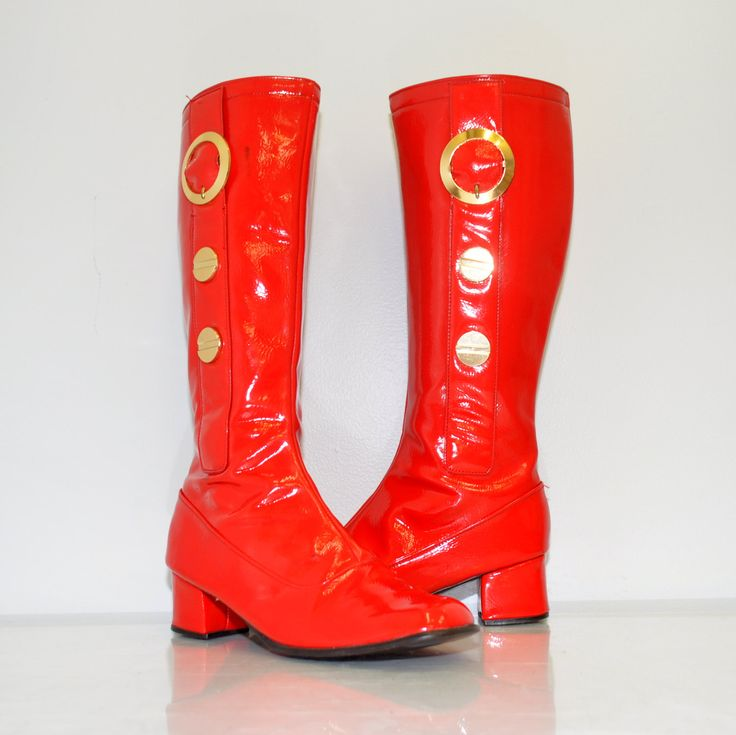 Vintage red go-go boots from the 1960's